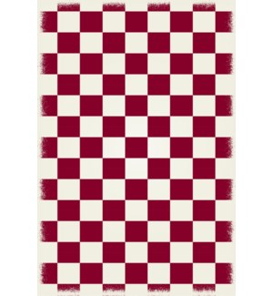 RUG7R46 - English Checker Design - Size Rug: 4ft x 6ft red & white colors with a weather aged finish- super durable and multilayer technical grade vinyl rug.