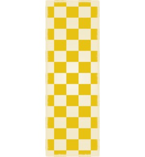 RUG7Y26 - English Checker Design - Size Rug: 2ft x 6ft yellow & white colors
