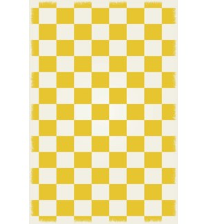 RUG7Y46 - English Checker Design - Size Rug: 4ft x 6ft  yellow & white colors