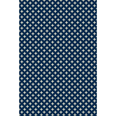 RUG8B23 - Elegant Cross Design- Size Rug: 2ft x 3ft blue & white colors