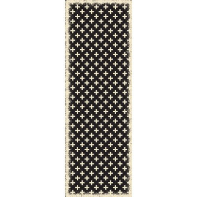 RUG8BLK26 - Elegant Cross Design- Size Rug: 2ft x 6ft black & white colors