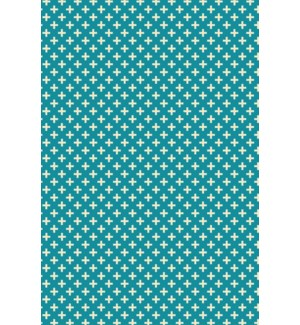 RUG8T23 - Elegant Cross Design- Size Rug: 2ft x 3ft teal & white colors