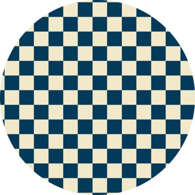 RUGC7B55 - Checker of Circles - Size Rug 5ft x 5ft - Blue