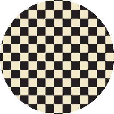 RUGC7BLK55 - Checker of Circles - Size Rug 5ft x 5ft - Black & White