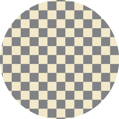 RUGC7G55 - Checker of Circles - Size Rug 5ft x 5ft - Grey