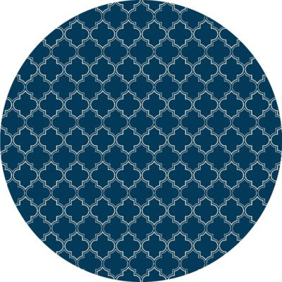 RUGC9B55 - Quaterfoil Circle Design- Size Rug: 5ft x 5ft blue & white