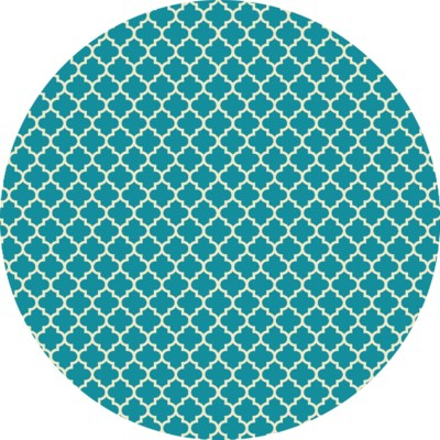 RUGC9T55 - Quaterfoil Circle Design- Size Rug: 5ft x 5ft - Teal & white