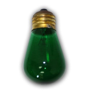 S1411G - E26 - Medium Size Green Light Bulb - S14 - 11 Wattages E26   Suspended, Euro, Bistro, and Garden Series string lights.