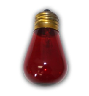 S1411R - E26 - Medium Size Red Light Bulb - S14 - 11 Wattages E26   Suspended, Euro, Bistro, and Garden Series string lights.