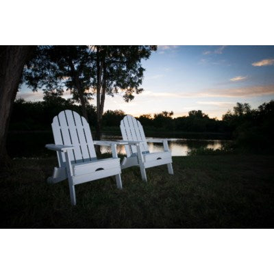 WPADIR - Folding White color POLY Adirondack Chair - Size 38H X 28 X 28 - Commerical Heavy Duty Plastic