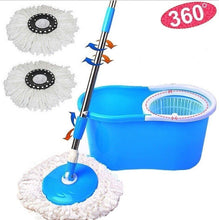 Load image into Gallery viewer, 360° Easy Clean Floor Mop Bucket 2 Heads Microfiber Spin Rotating Head Blue