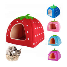 Load image into Gallery viewer, Soft Strawberry Pet Dog Cat Bed House Kennel Doggy Warm Cushion Basket S M L