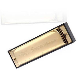 Golden Harmonica With Case