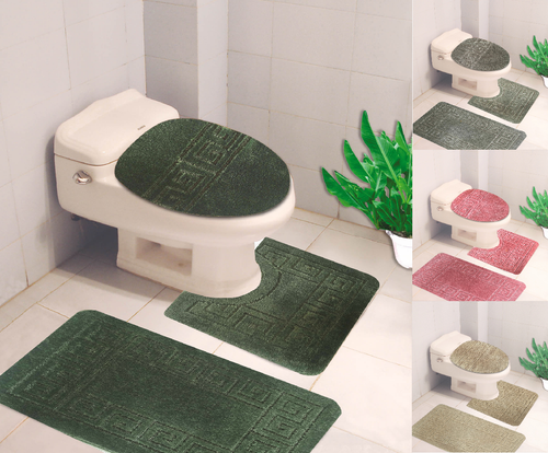 3PC GEOMETRIC DESIGN BATHROOM SET BATH MAT CONTOUR RUG TOILET LID COVER NEW