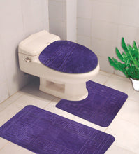 Load image into Gallery viewer, 3PC GEOMETRIC DESIGN BATHROOM SET BATH MAT CONTOUR RUG TOILET LID COVER NEW