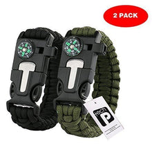 Load image into Gallery viewer, Tactical Survival Bracelet 2 Pack – 550 Paracord, Emergency Knife/Scraper & More
