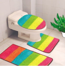 Load image into Gallery viewer, 3PC BATHROOM SET RUG CONTOUR MAT TOILET LID COVE