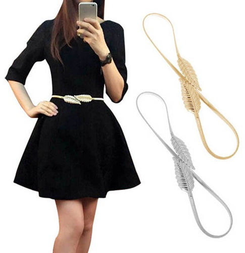 Women LEAF Elastic Metal Belt