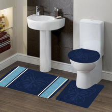 Load image into Gallery viewer, 3-Piece Bathroom Bath Mat Contour Rug Set with Toilet Lid Cover