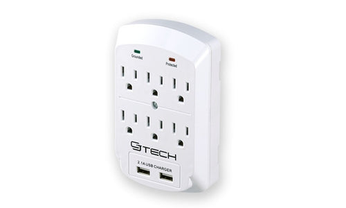 6 Outlets 2 USB Ground Surge Protector Indoor AC Power Wall Tap Adapter
