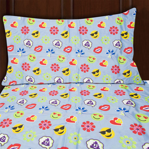 3pc Emoji Print Sheet Set Twin Size Microfiber Bedding Flat Fitted & Pillowcase