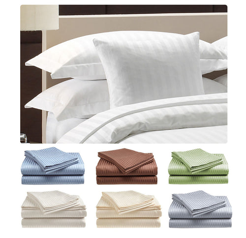 Deluxe Hotel  300 Thread Count 100% Cotton Sateen Sheet Set Dobby Stripe
