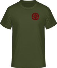 t-shirt green with logo in maroon red