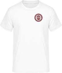t-shirt white with logo in maroon red