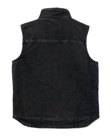 B SANDSTONE MOCK NECK VEST BLACK