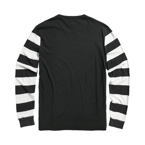 Ignition Coil Block Stripe Long Sleeve Crew T-Shirt Black