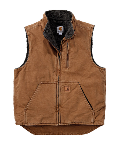 B SANDSTONE MOCK NECK VEST BROWN