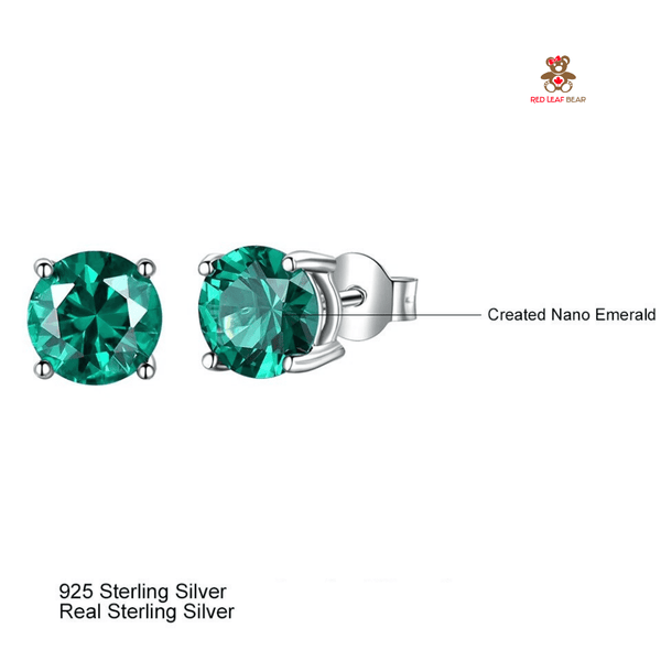 Red Leaf Bear - FREE Shipping - Something for Everyone Earrings Sterling Silver Genuine and Emerald Created Gemstone Round Birthstone Stud Earrings.