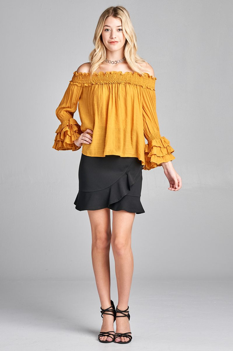 ef204efb78b Ladies fashion long sleeve w/ruffle off the shoulder woven top. Hover to  zoom