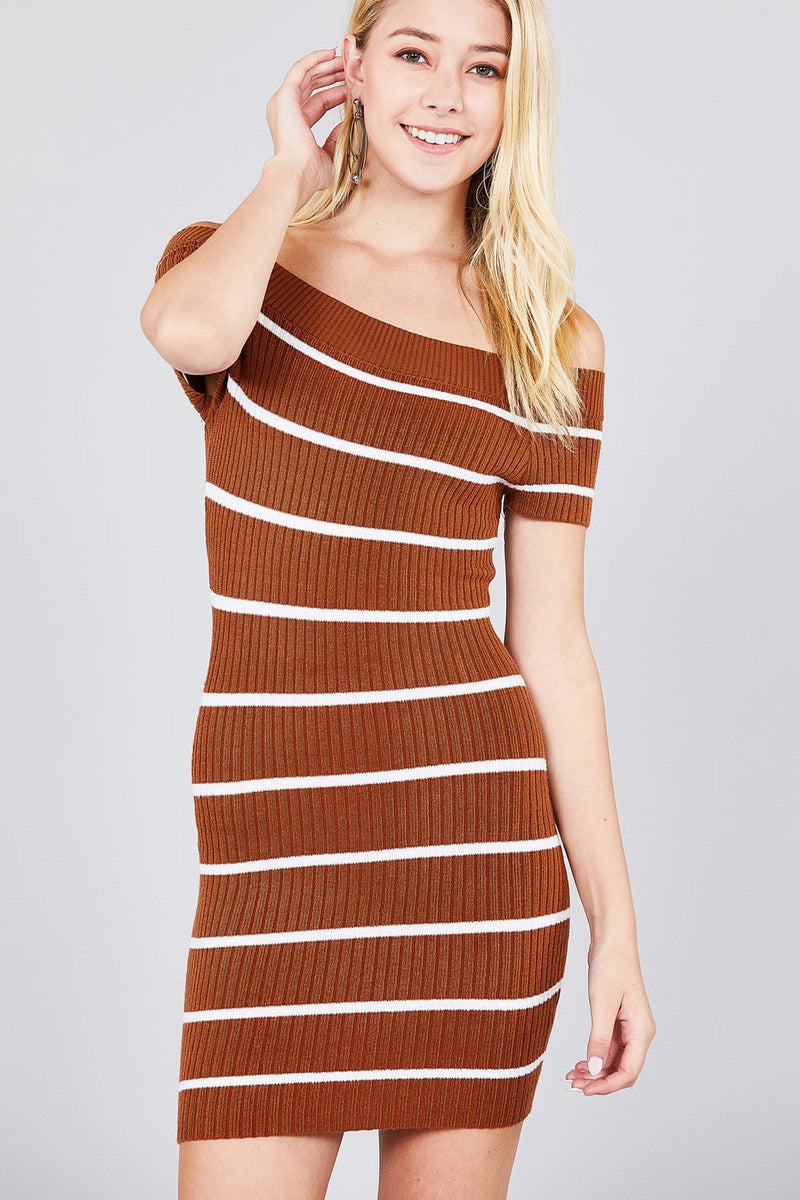1a30f1a5b051 Short Sleeve Off The Shoulder Striped Mini Sweater Dress. Hover to zoom
