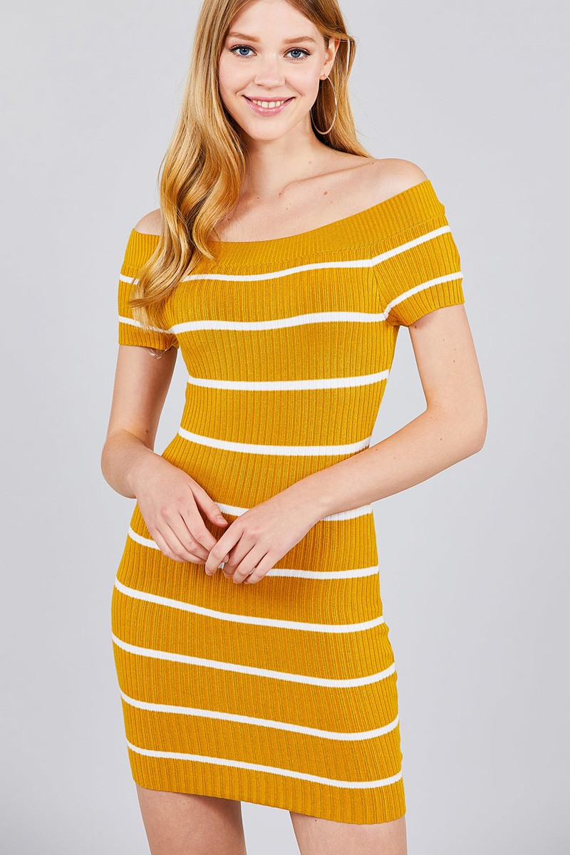 3e171dde193 Short Sleeve Off The Shoulder Striped Mini Sweater Dress – Monamoda