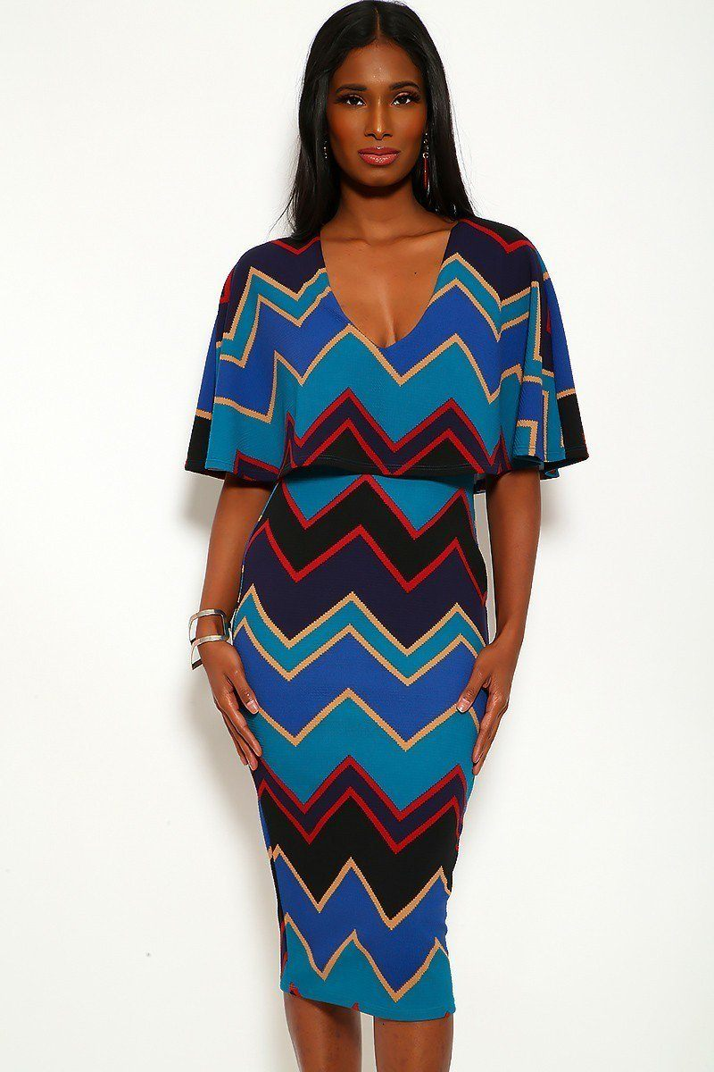 42b682fd03d Chevron Print Midi Dress With Over The Shoulder Ruffle And V-neck