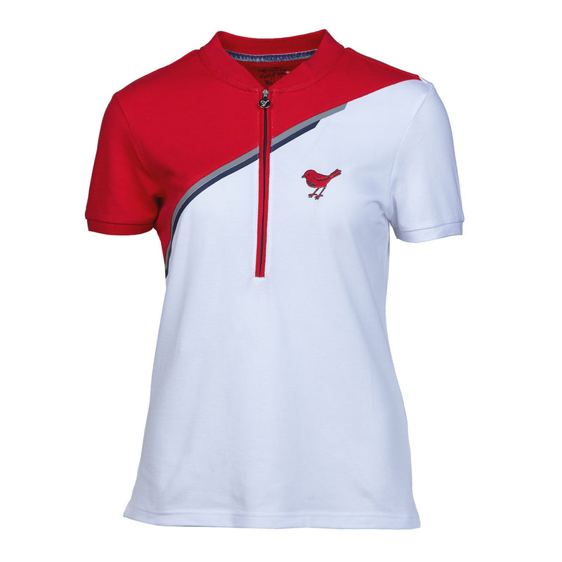 Girls Golf White Red Divided Polo