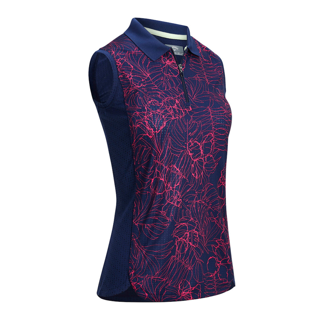 Callaway Sleeveless Tropical Print Polo