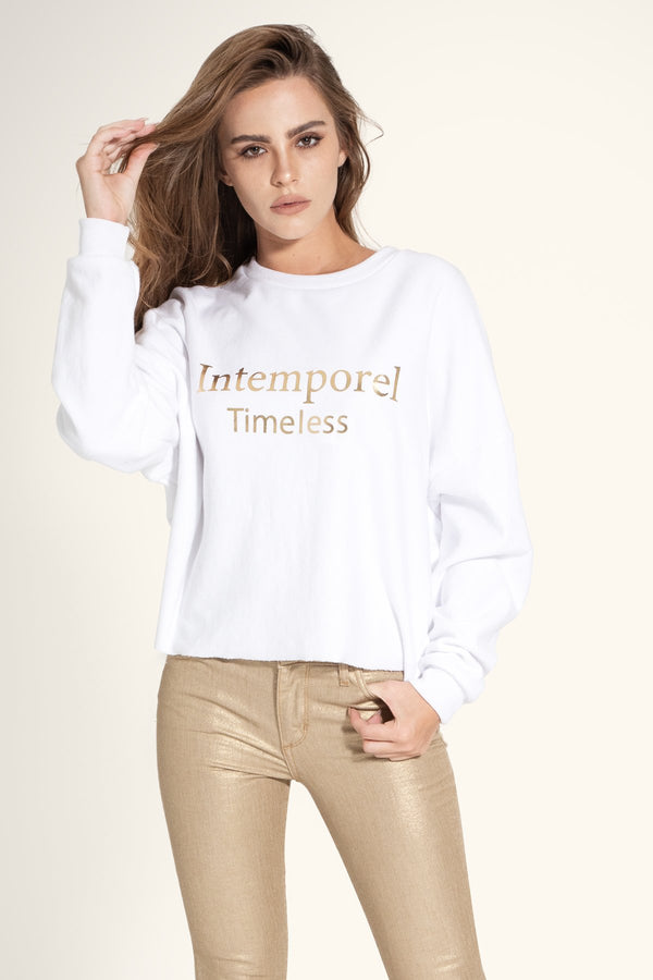 씨위진 스텔란 오버사이즈 크롭 맨투맨 SIWY Stellan - Oversized Long Sleeved Crop Sweatshirt - Gold Timeless