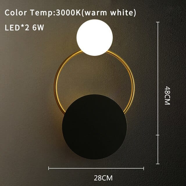 Black and White Round Ceramic Wall Sconce
