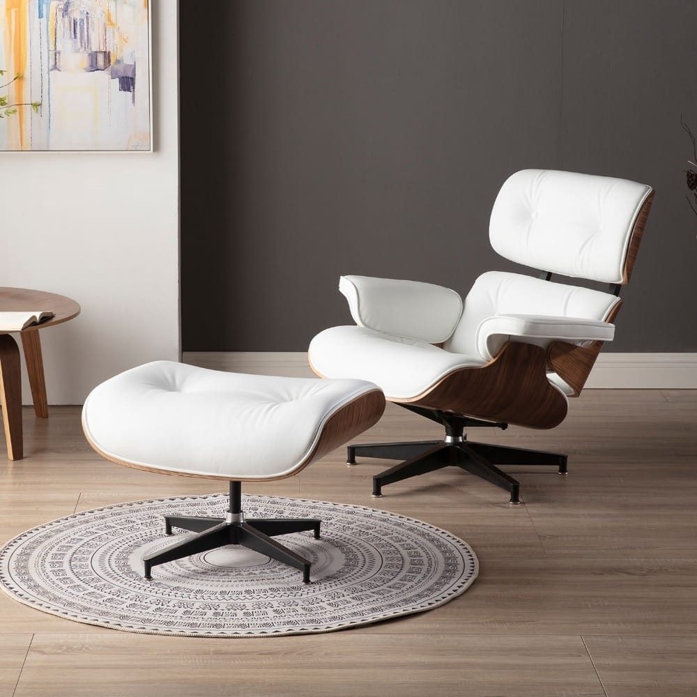 White Lounge Eames Chair with Ottoman