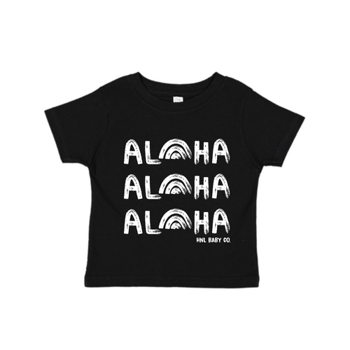 ALOHAx3 Rainbow Tee-Black
