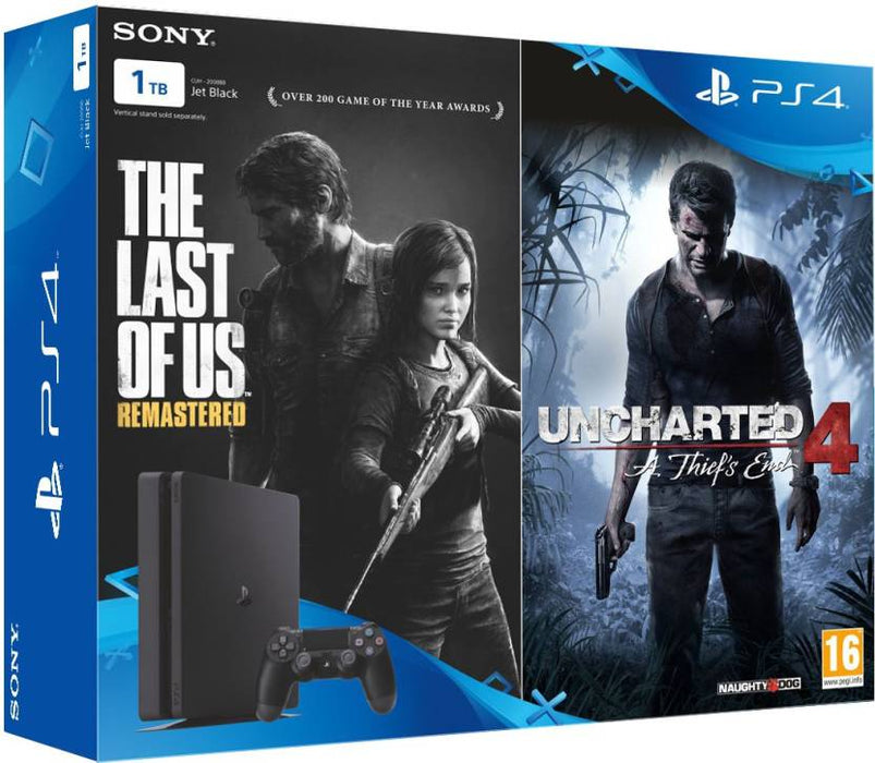 Sony PlayStation 4 (PS4) Slim 1 TB with The Last of Us and Uncharted 4  (Jet Black) - Game X Change
