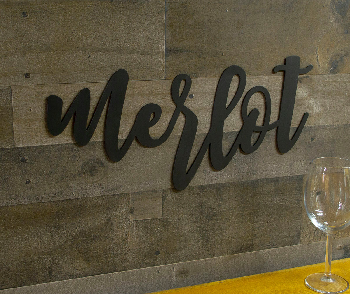 Merlot Metal Sign, Wine, Bistro, Bar, Kitchen Decor