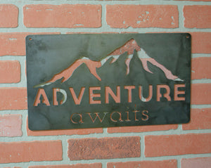 Adventure Awaits, Metal Sign, Industrial Decor, Cabin, Lodge Decor