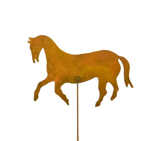 Horse Equestrian Rust Metal Garden Decor Yard Art Stake Gift for Gardeners