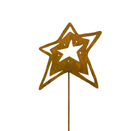 Open Star Rust Metal Garden Decor Yard Art Stake Gift for Gardeners