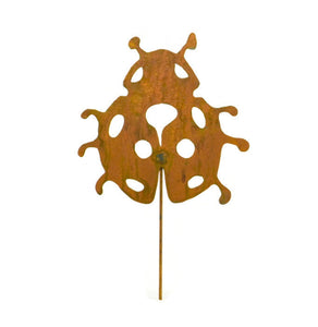 Ladybug Rusty Metal Garden Decor Yard Art Stake Gift for Gardeners