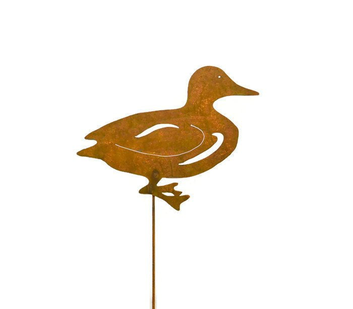 Duck Rust Metal Garden Decor Yard Stake Art Gift for Gardeners