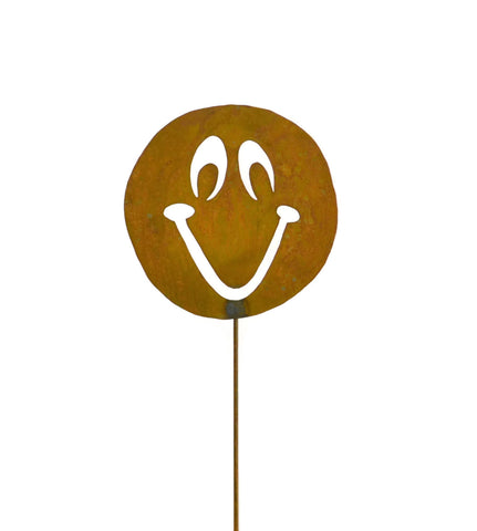 Smiley Face Rust Metal Garden Decor Yard Art Stake Gift for Gardeners